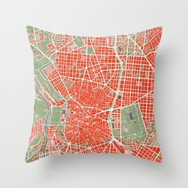 Madrid city map classic Throw Pillow