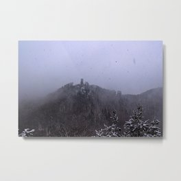 Castle ruin in the snow Metal Print