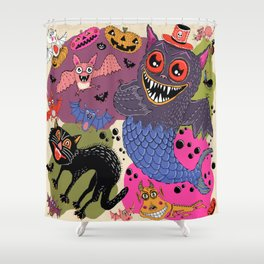 batty, catty and fishy(?!) for Halloween! Shower Curtain