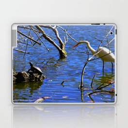Egret and Turtle: Opposites Attract (Chicago North Pond Collection) Laptop & iPad Skin