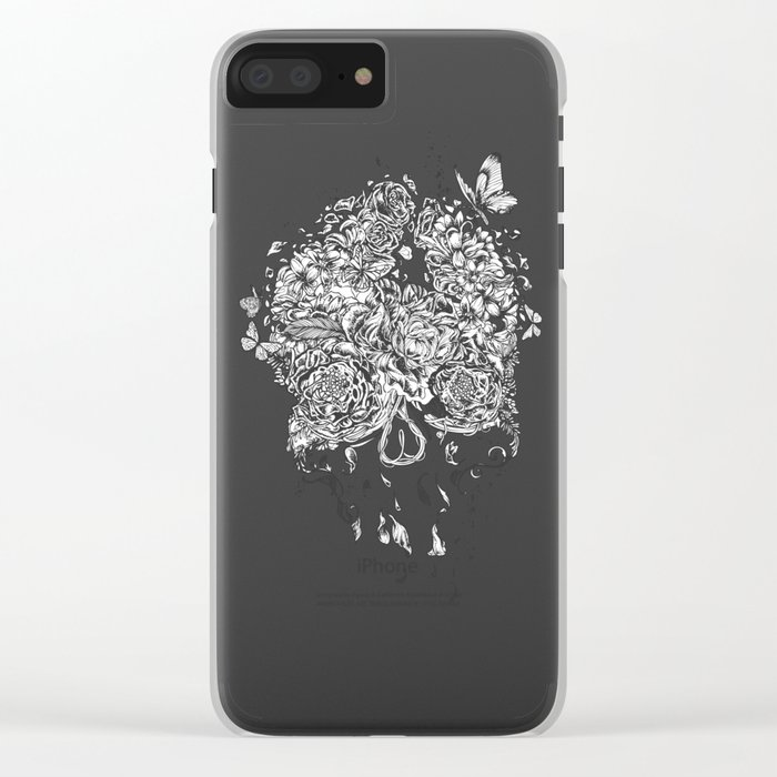 Skull Flower Clear iPhone Case