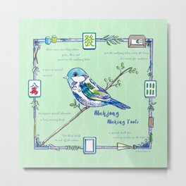 Sparrow Mahjong Metal Print