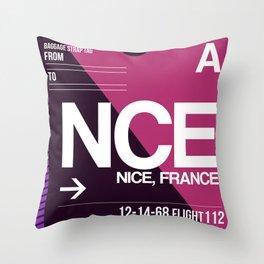 NCE Nice Luggage Tag 1 Throw Pillow