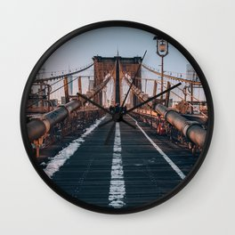 Golden Hour On Brooklyn Bridge Wall Clock