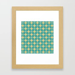 Mid Century Modern Star Pattern 143 Teal and Yellow Framed Art Print