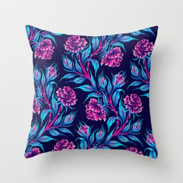 Roses - Dark Blue Pink Throw Pillow