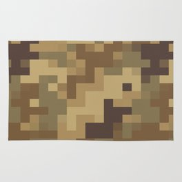 Army Camouflage Pixelated Pattern Brown Dirt Desert Rug