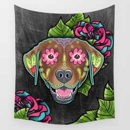 Labrador Retriever - Chocolate Lab - Day of the Dead Sugar Skull Dog Wall Tapestry