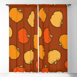 Pumpkin Pattern on Brown Blackout Curtain