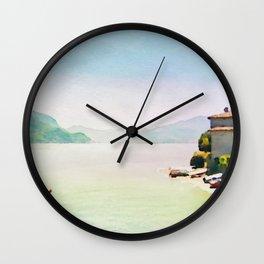 Como Lake in Watercolor Wall Clock