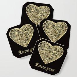 golden heart I love you Coaster