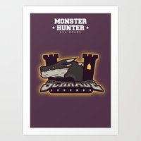monster hunter Art Prints featuring Monster Hunter All Stars - Schrade Legends by Bleached ink