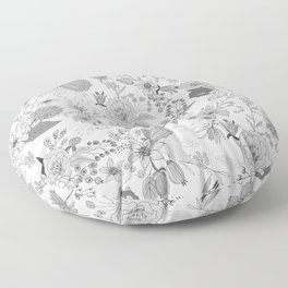 Abstract black white rustic modern floral illustration Floor Pillow