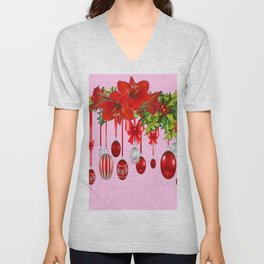 RED AMARYLLIS FLOWERS & HOLIDAY ORNAMENTS FLORAL Unisex V-Neck