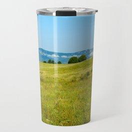 Green rolling hills and the Carpathians Travel Mug