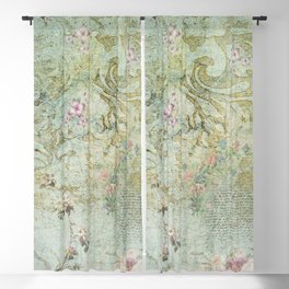 Vintage French Floral Wallpaper Blackout Curtain