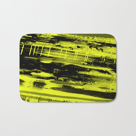 Study In Yellow - Abstract, yellow painting Bath Mat