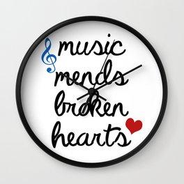 Music Mends Broken Hearts Wall Clock
