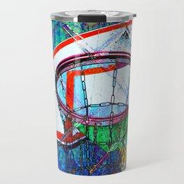 Basketball Hoop, BBall Art, Modern Sports Artwork Travel Mug