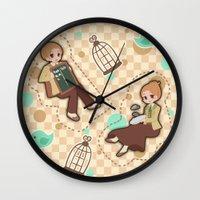 bioshock Wall Clocks featuring Bioshock Infinite - Luctece Twins by Choco-Minto