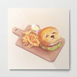 SmileDog Burger Metal Print