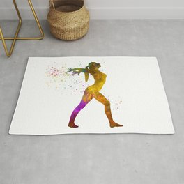Young woman practices rhythmic gymnastics in watercolor 11 Rug