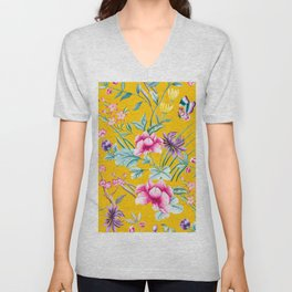 Chinoiserie mustard yellow floral Unisex V-Neck