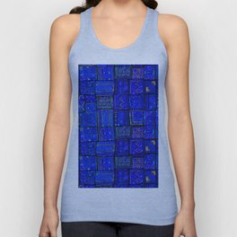 -A2- Lovely Calm Blue Traditional Moroccan Pattern Artwork. Unisex Tank Top