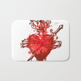 heart in flames wounded by dagger Bath Mat