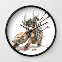 bouletcorp Wall Clocks featuring Écureuil Barbare by Bouletcorp