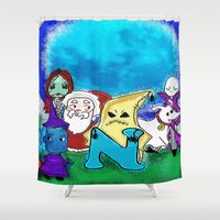 nightmare before christmas Shower Curtains featuring Nightmare Before Xmas  by grapeloverarts