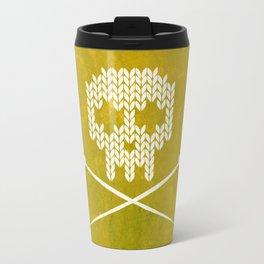 Knitted Skull (White on Yellow) Travel Mug