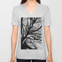 Tree forest wall art, trending minimalist Art, Minimalist, Black and White, Trees simple Unisex V-Neck