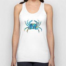 Blue Crab Art by Sharon Cummings  Unisex Tank Top