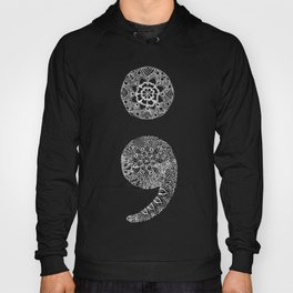 Patterned Semicolon: White on Black Hoody