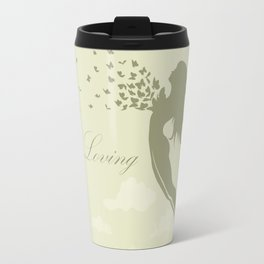 girl with butterflies in a jump Travel Mug