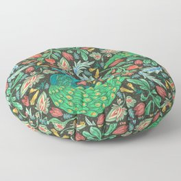 Asian-Inspired Floral Pattern With Majestic Peacocks Floor Pillow