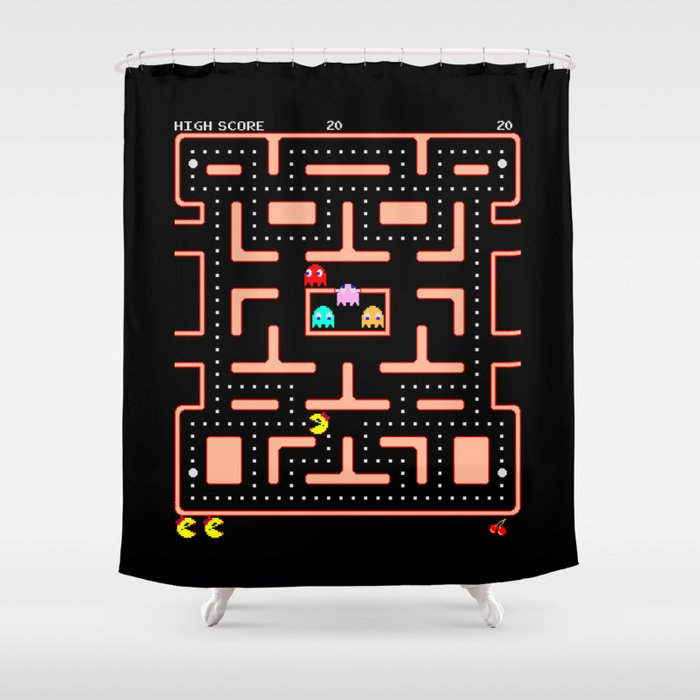Ms Pac Man Nom Shower Curtain