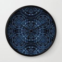 Blue Bohemian Pattern Wall Clock