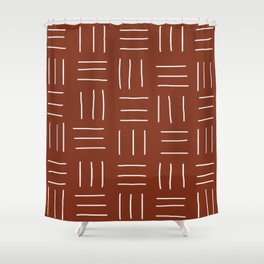Rust Mudcloth Shower Curtain