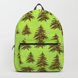 Sparkly Gold Christmas tree on abstract green paper Backpack
