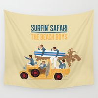 safari Wall Tapestries featuring Surfin Safari by DWatson