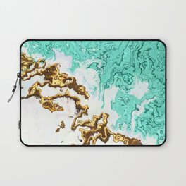turquoise gold white abstract digital painting Laptop Sleeve