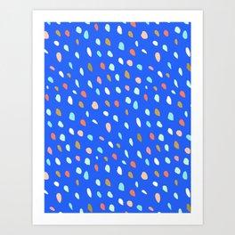Blue Party Paint Dots Art Print