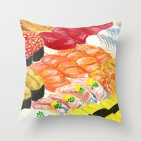 sushi Throw Pillows featuring sushi by Shihotana