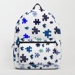 Jigsaw pieces of bluish colors. Backpack