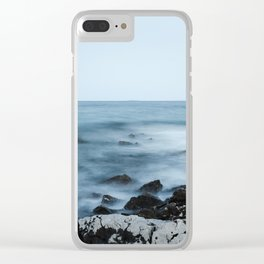 Rocky shore with misty water Clear iPhone Case