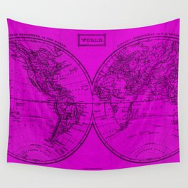 Vintage Map of The World (1857) Pink & Black Wall Tapestry