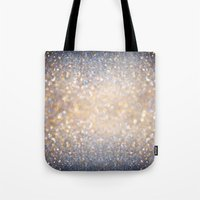 lights Tote Bags featuring Glimmer of Light (Ombré Glitter Abstract) by soaring anchor designs