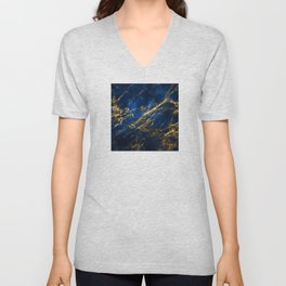 Blue Faux Marble With Gold Strike Veins Unisex V-Neck